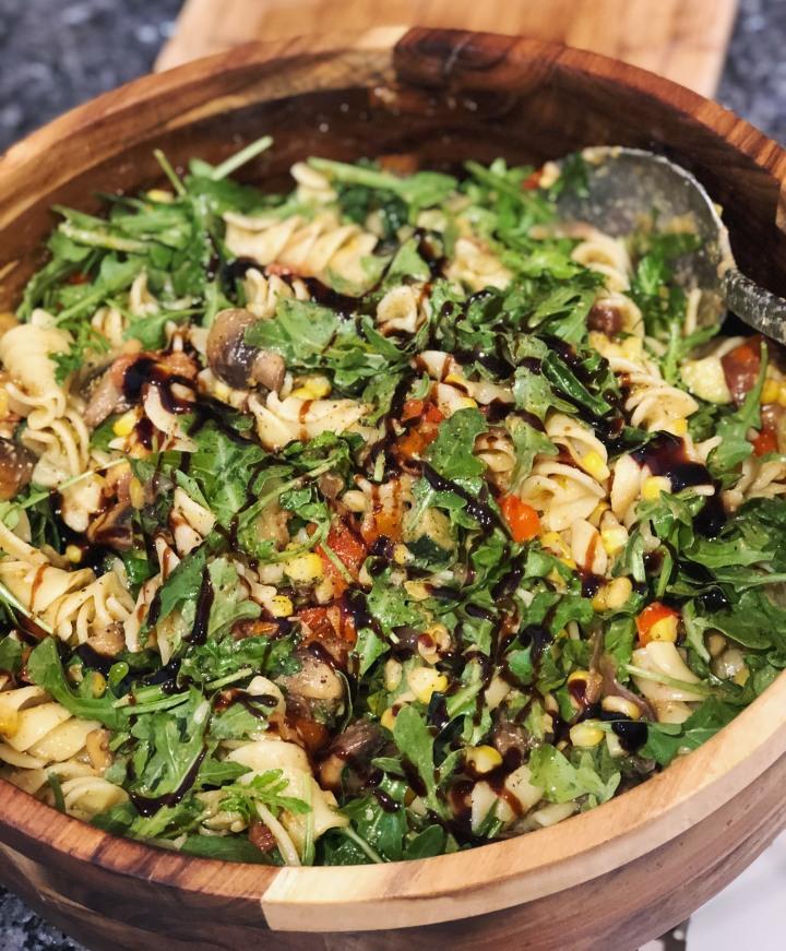 Vegan pasta salad with caramelisedbalsamic