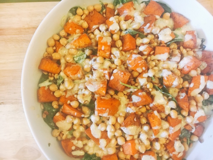 Sweet potato & chickpea salad with tahini dressing.