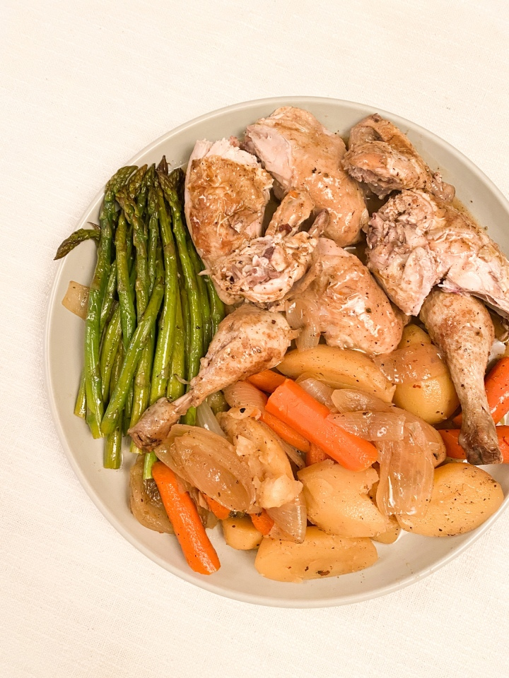 Pot roast chicken with pear cider gravy